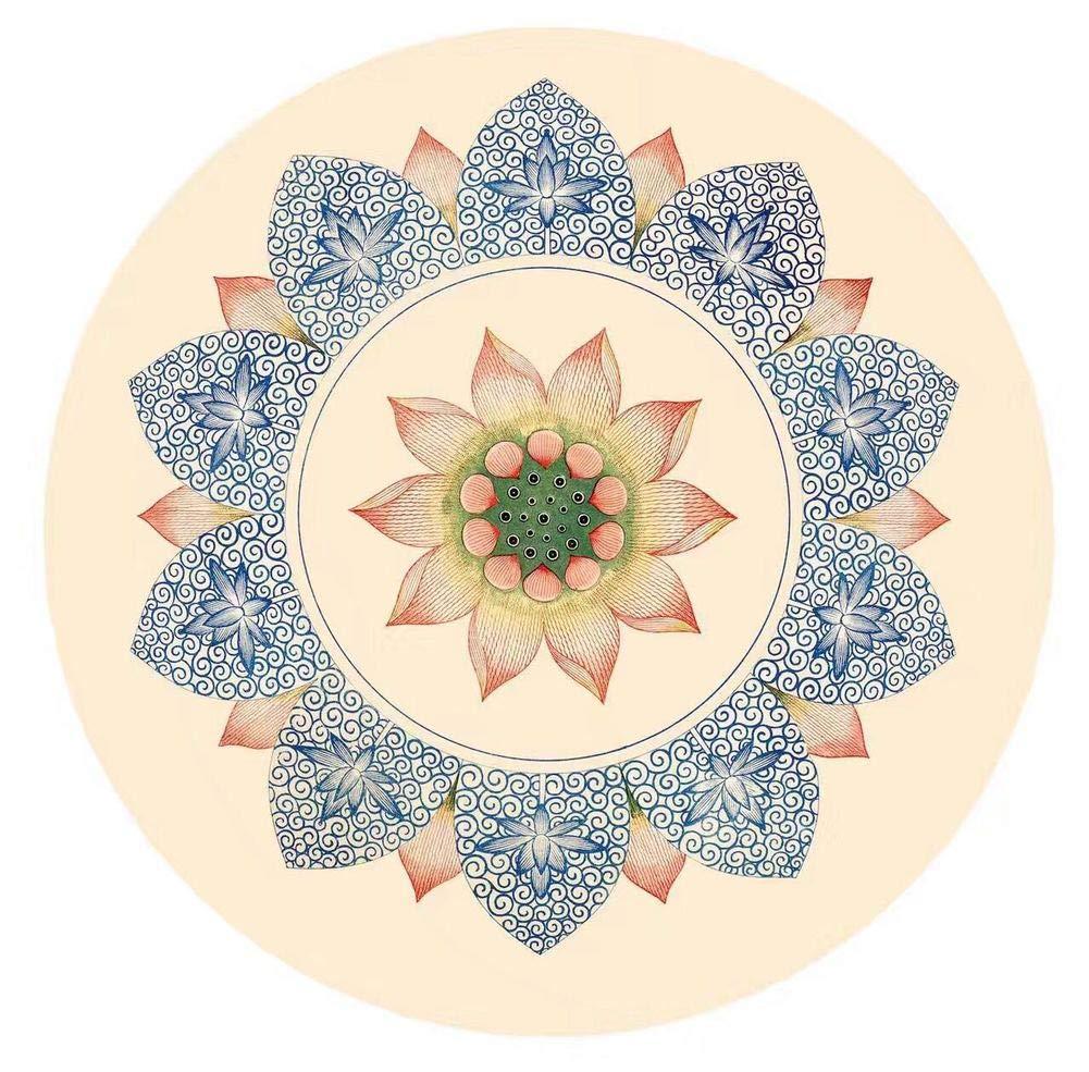 UKIYES ラバースエード ヨガマット 瞑想 ラウンド フィットネスマット ホームマット E   B07QNMNVLL