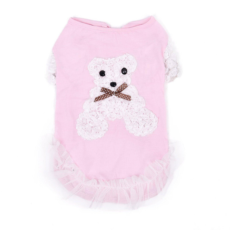 Yajie pet, Vestido de verano de la ropa del perro del animal doméstico Vestido de la falda del gato del perrito ropas para el animal doméstico pequeño o medio ( Color : Rosado , Size : XS ) XUJW-MASCOTA