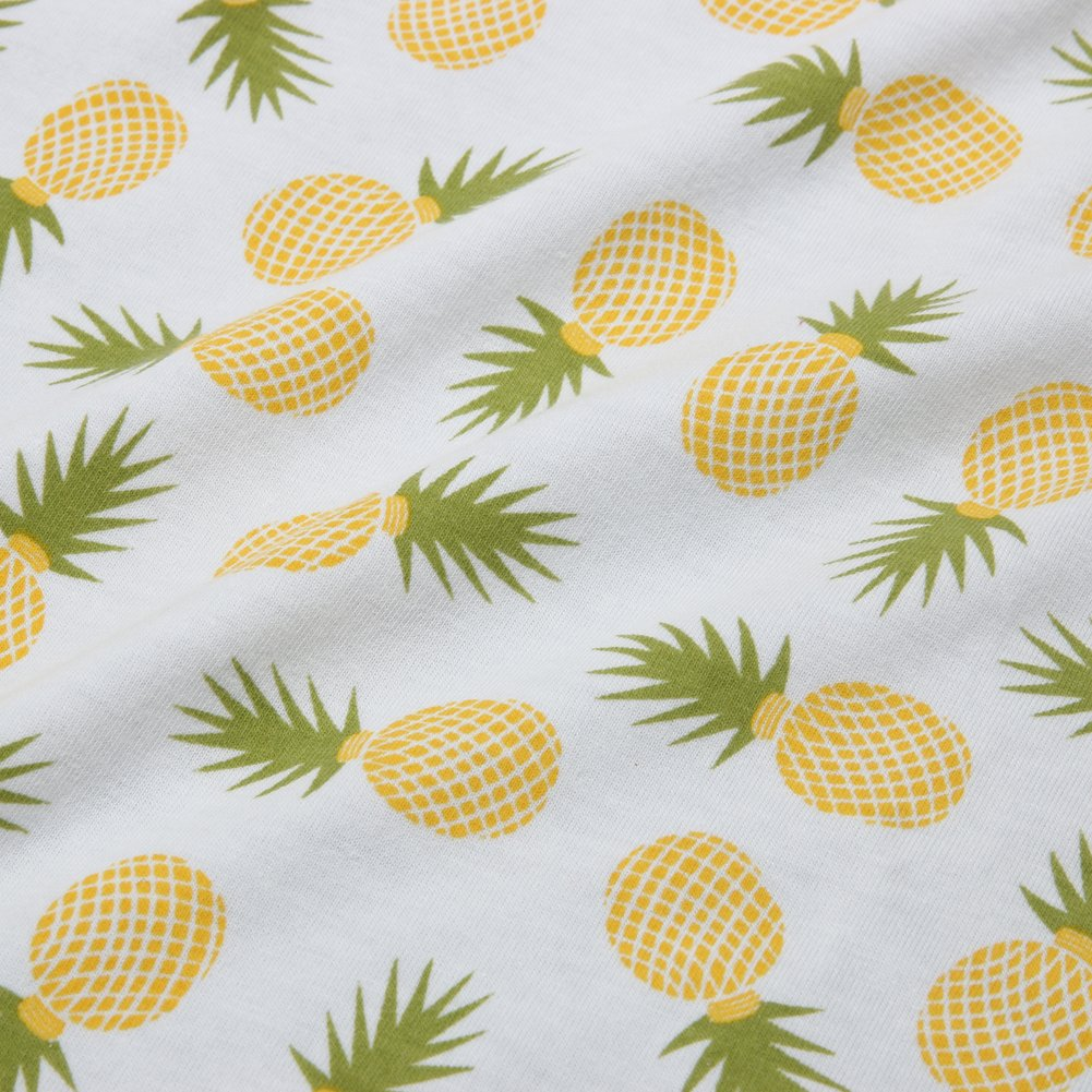 Chinatera Newborn Baby Cotton Pineapple Floral Swaddle + Headband Bath Wrap Sleeping Bag Set