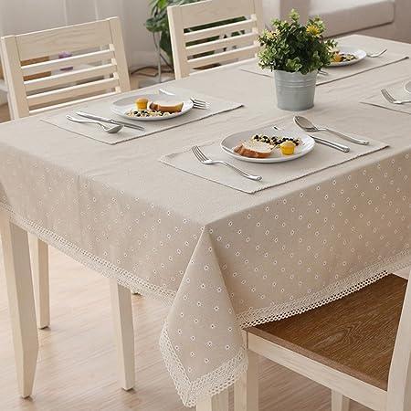 Mantel de tela de algodón y lino de TJW, color blanco, diseño tipo daisy con encaje, 100*150cm: Amazon.es: Hogar