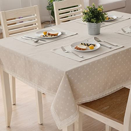 Tablecloth Dining Room Table Linen White Daisies Lace Linen Table Cloth  Table Covers, A
