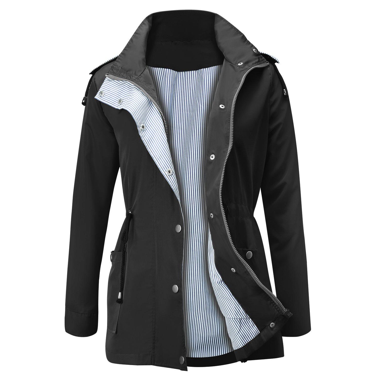 SMOLOUR Women's Rain Jacket Active Outdoor Raincoats Waterproof Lightweight Hooded Trench Coats