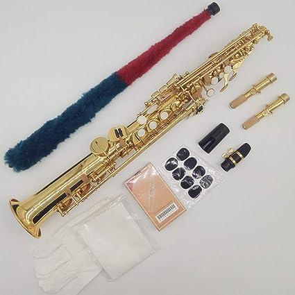 Saxofón Soprano S-992 de la marca Music Fancier Club, lacado dorado, saxofón