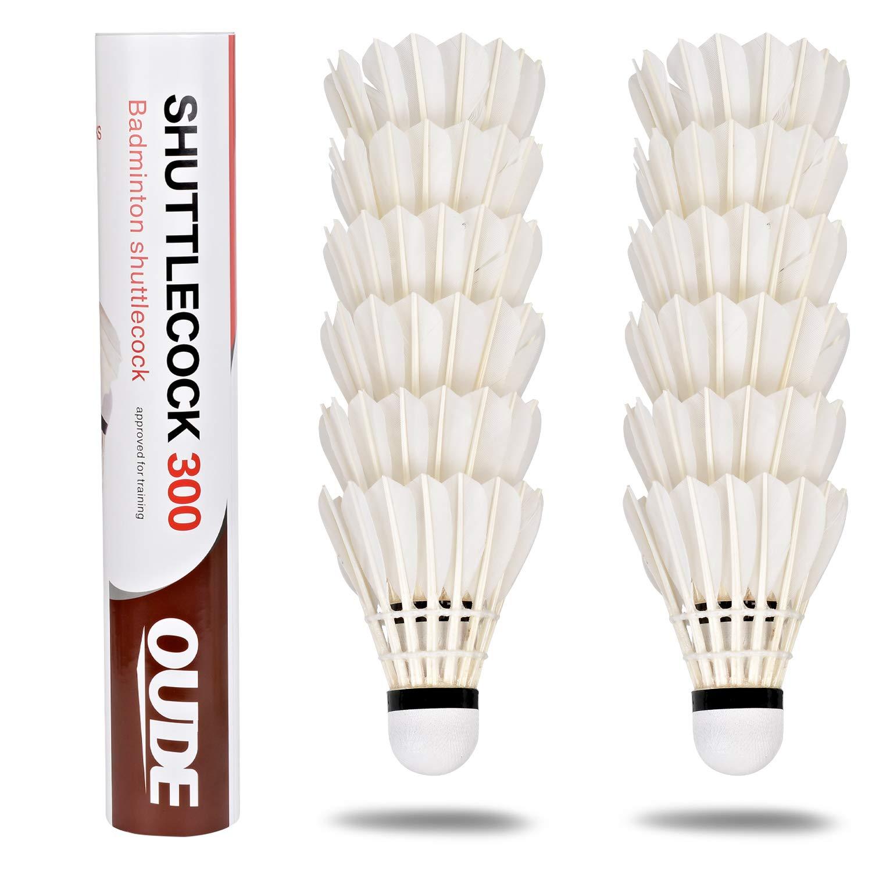 12 Piezas de Plumas de Ganso Shuttlecocks estables y duraderas Bolas de b/ádminton para Deportes de Interior y Exterior Color Blanco EEM Badminton Shuttlecocks