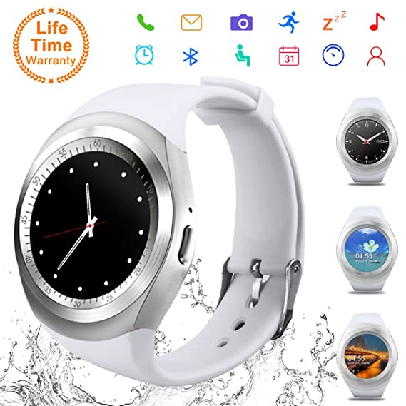 Android Smartwatch Bluetooth,Impermeable Reloj Inteligente,Bluetooth Tactil Telefono Smart Watch Sport Fitness Tracker