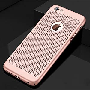 VIVICOM Breathable Ultra Slim Thin Case for iPhone 7 / iPhone 8, Hard Plastic Full Protective Anti Fingerprint Breathing Cover (Rose)