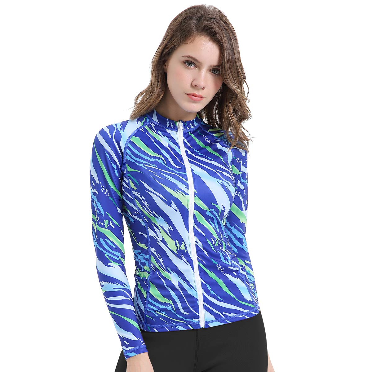 L&Sports Women Long Sleeve Rash Guard Shirt Printed Surfing Shirt Wetsuit Swimsuit Top Full Zip Front UPF UV Sun Protection (Blue, S) by L&Sports