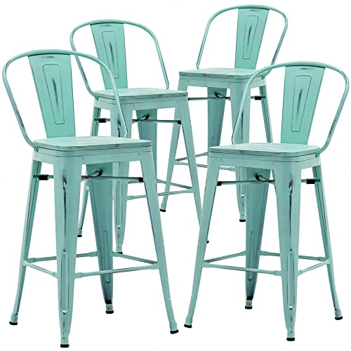 Aklaus Metal Bar Stools Set of 4 Counter Height Stool