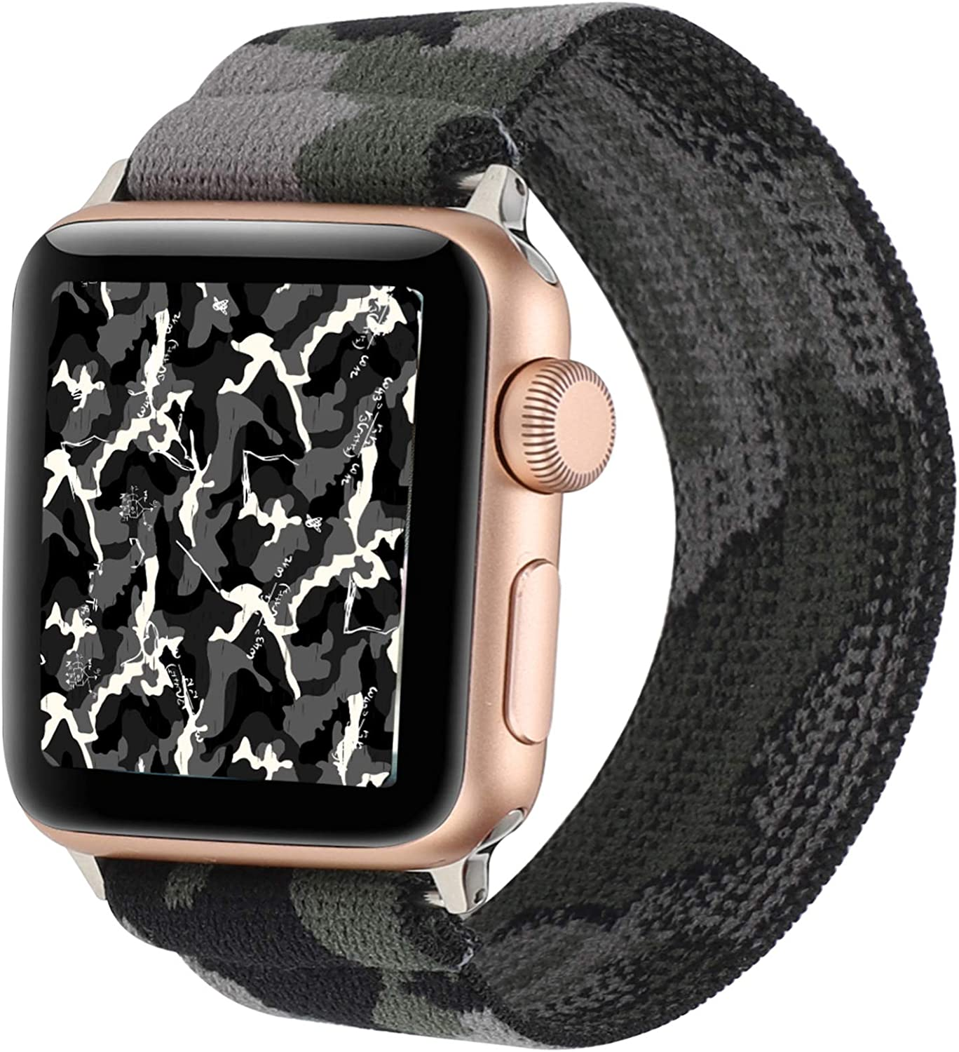 Stretchy Nylon Solo Loop Bands Compatible with Apple Watch 38mm 40mm, Adjustable Stretch Braided Sport Elastics Women Men Strap Compatible with iWatch Series 6/5/4/3/2/1 SE 38mm 40mm Camouflage Color