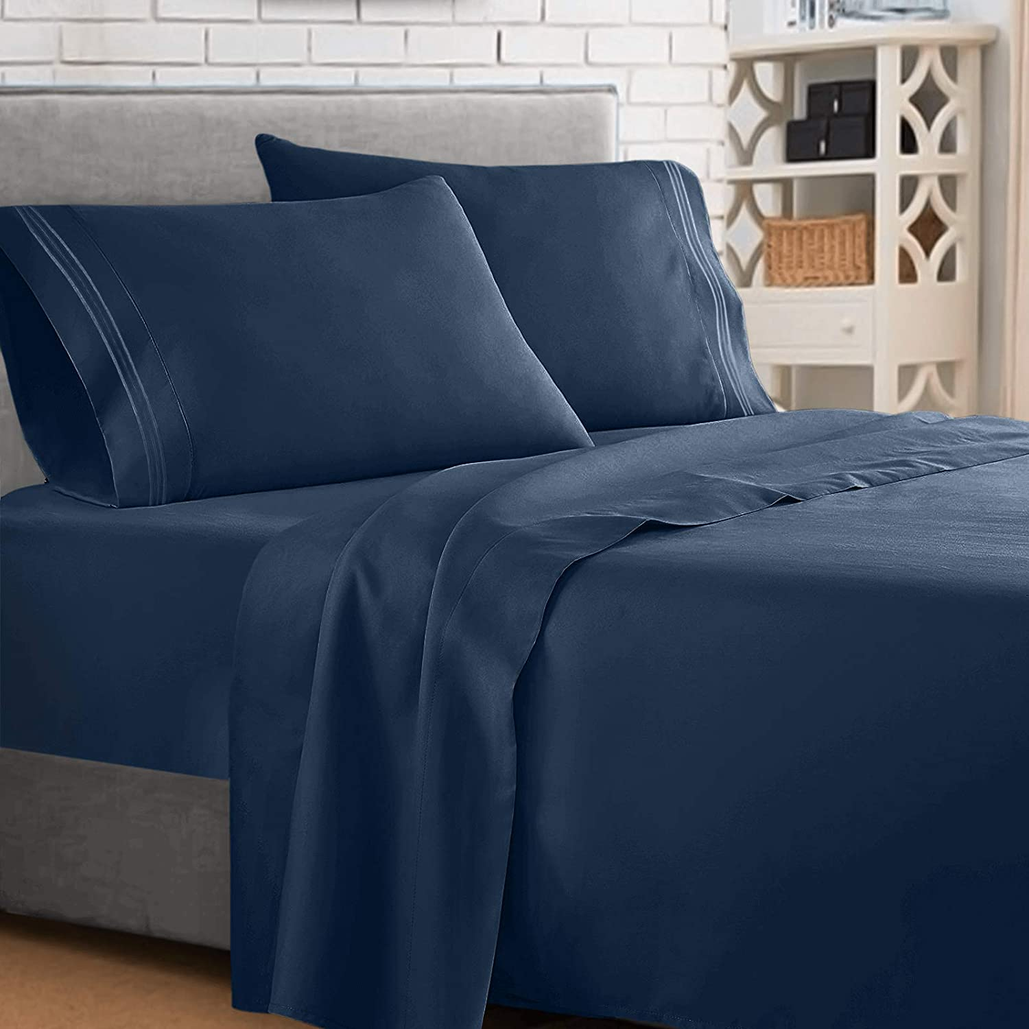 Clara Clark ® Supreme 1500 Collection 4pc Bed Sheet Set - Cal King Size, Navy Blue