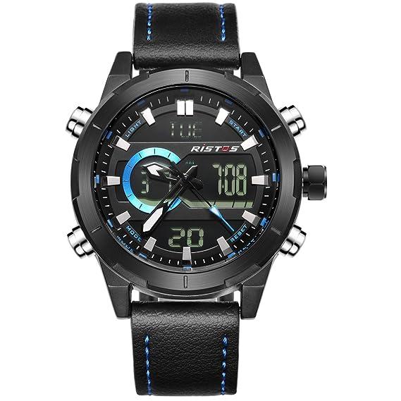 Ristos - Reloj deportivo para hombre, cuarzo, correa de piel negra, cristales de