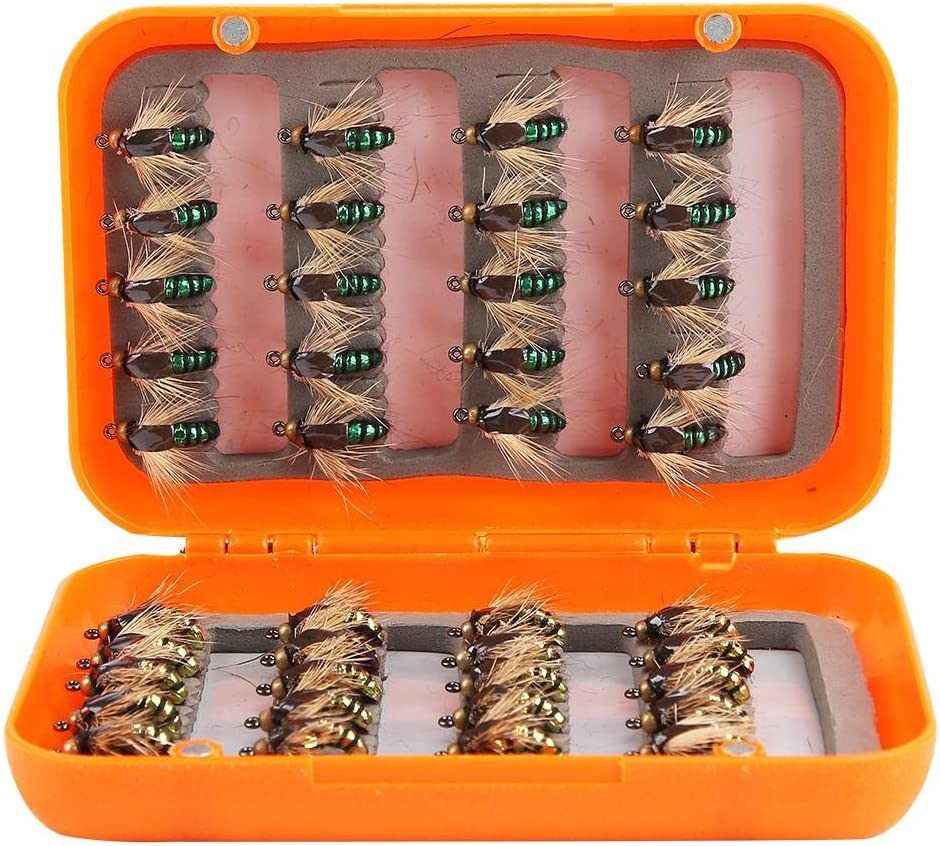 Alomejor Fliegenfischen Lockt Fliegen Set Trockenm/ückenfliegen Handgemachte Fischk/öder Box