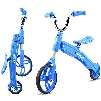 Vokul Gx02 Plegable Bicicleta sin Pedales para niños DE 2-5 años (Azul)