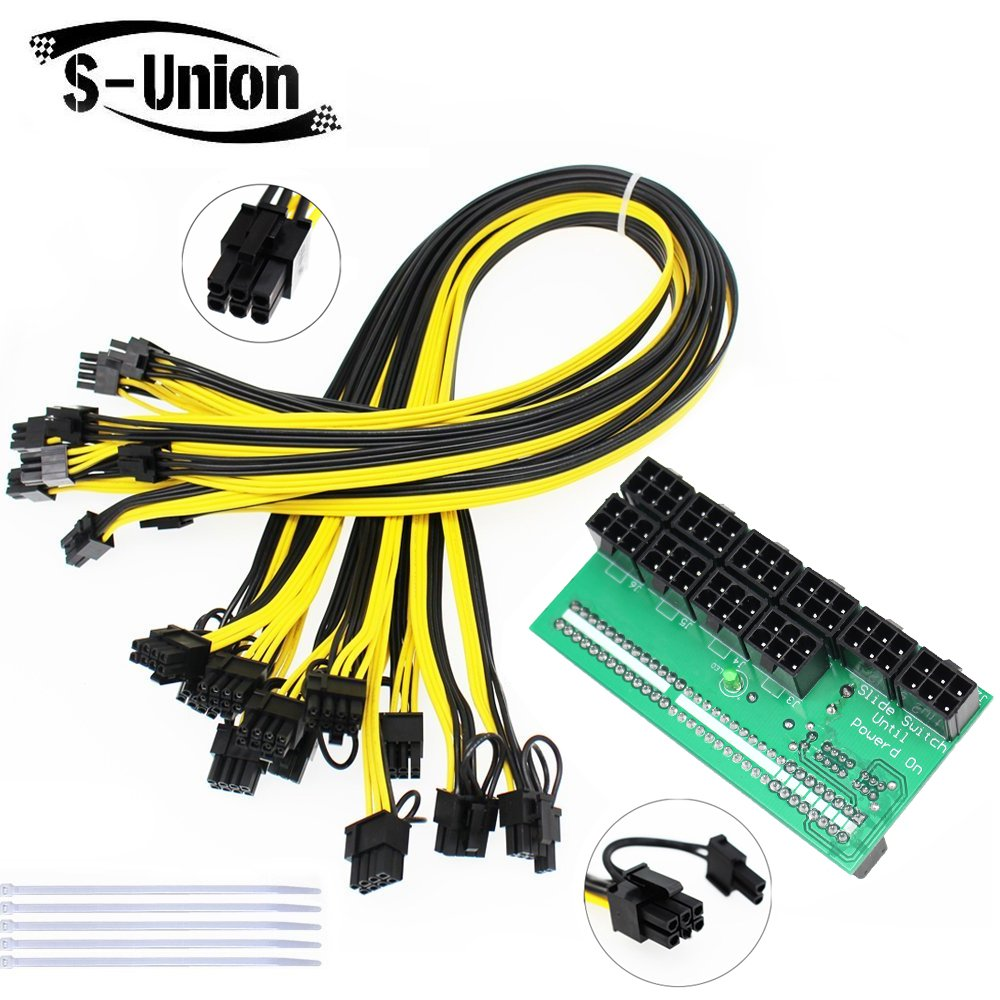 S-Union Mining Power Supply 12V GPU/PSU Breakout Board + 10pcs 16AWG PCI-E 6Pin to 6+2Pin Cables (27.5Inch), Power Adapter Board for HP 1200w/750w PSU Ethereum ETH ZEC (with 5 NylonTies)
