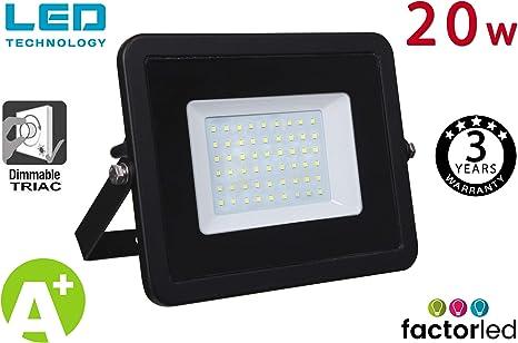 FactorLED Foco Proyector LED 20W Exterior Negro IP65 Elegance ...