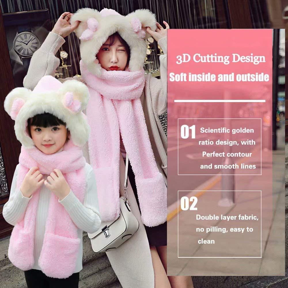 MiniGreen Chapeau en Peluche Hiver Bonnet 3D Motif de Ours Chapeaux Noeud  Casquette Oreilles Rondes Cagoule Gants Ensemble Echarpe Calotte Capuche  pour ... 6c9bf481c6b