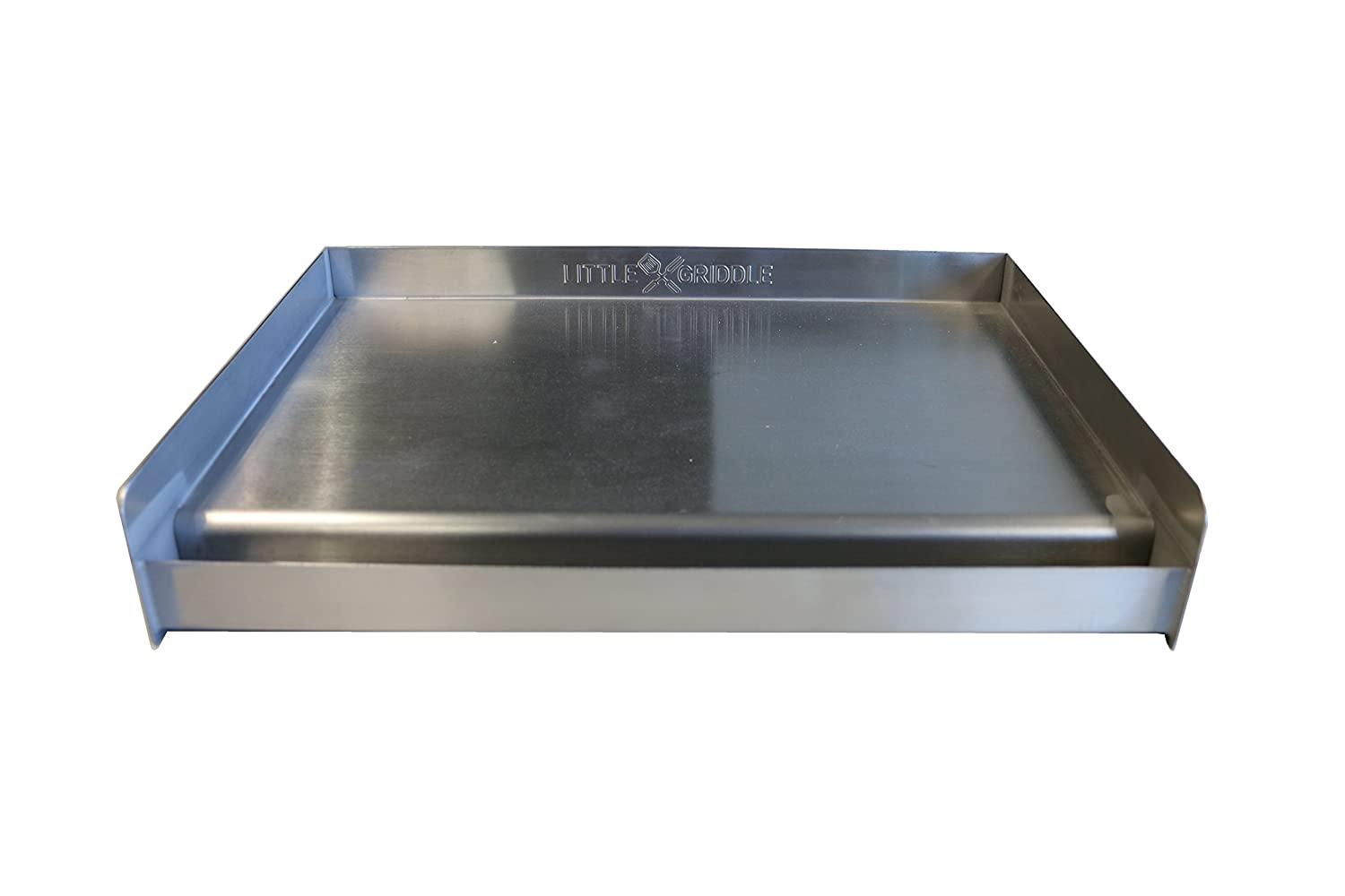 "Little Griddle SQ180 100% Stainless Steel Universal Griddle with Even Heating Cross Bracing for Charcoal/Gas Grills, Camping, Tailgating, and Parties (18""x13""x3"")"