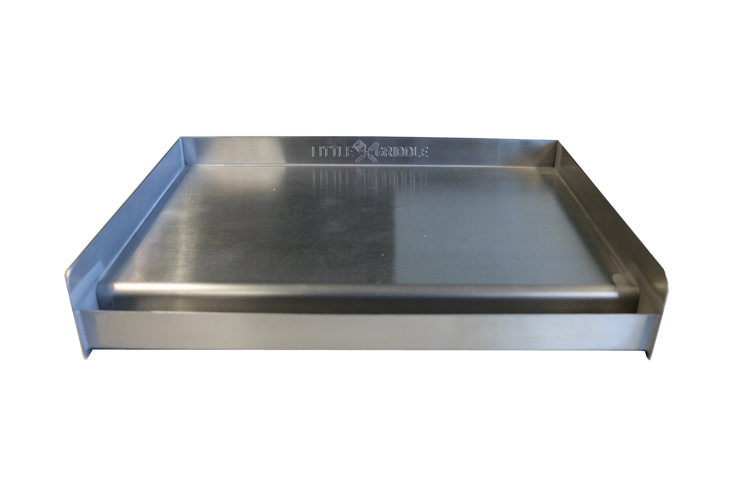 "Sizzle-Q SQ180 100% Stainless Steel Universal Griddle with Even Heating Cross Bracing for Charcoal/Gas Grills, Camping, Tailgating, and Parties (18""x13""x3"")"