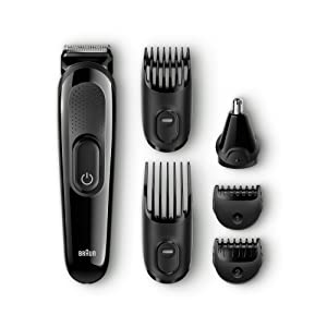 Braun MGK3020 Multi Grooming Kit - 6-in-one beard and hair trimming kit - with nose trimmer attachment - Ships with a UK 2 pin plug