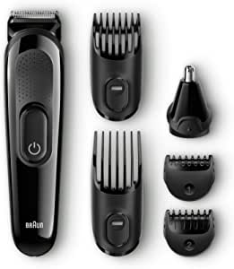 Braun Multi Grooming Kit MGK 3020 6-in-1 All-in-One Trimmer Beard Nose Trimmer and Hair Clipper, Black