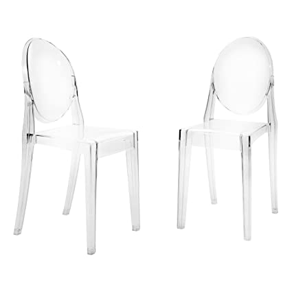 Supernova Indoor/Outdoor Dining Side Polycarbonate Ghost Chair With  Contoured Seat, Clear, 2