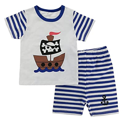 A&J Design Baby Boys' 2 Piece Stripes Funny Short Sleeves Summer Pirate Pajamas Sets