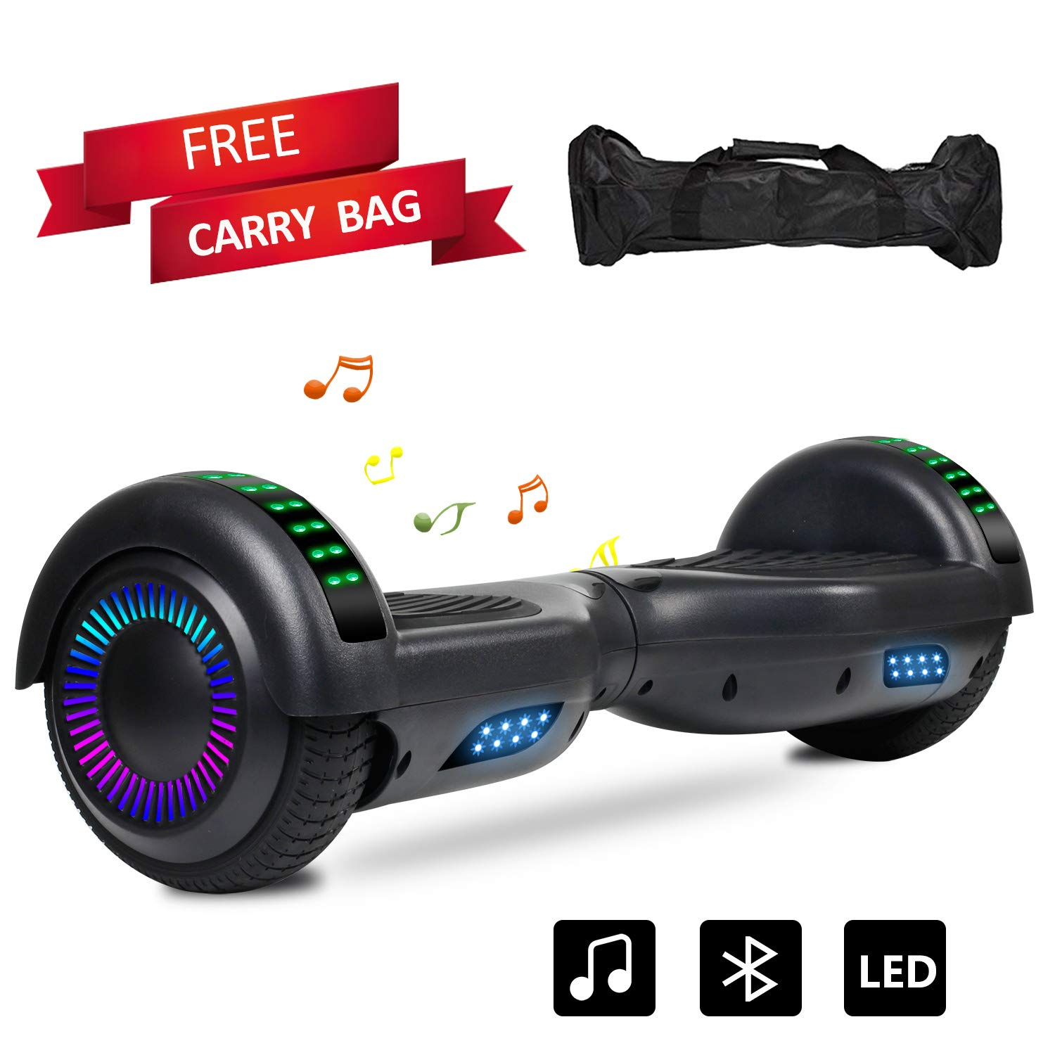Sea Eagle Hoverboard Two-Wheel Self Balancing Electric Scooter UL 2272 Certified 6.5'' with Bluetooth Speaker and LED Light Flash Lights Wheels (Black)