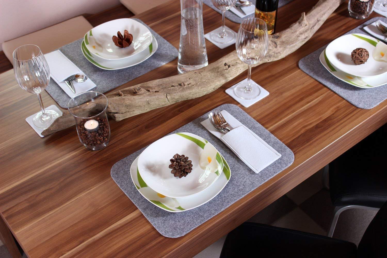 lavable sets de table modernes en feutre ou napperon ou dessous-de-plat pouvant servir d Ensemble de table avec sets de table /Él/égant ensemble de table en feutre pour 2 /à 4/personnes dessous de verre et pochettes pour couverts