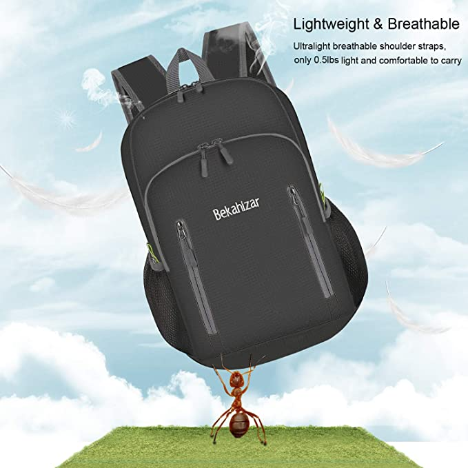 16ed87f89153 Amazon.com   Bekahizar 20L Ultra Lightweight Backpack Foldable Hiking  Daypack Water Resistant Travel Day Bag Packable for Kids Men Women Outdoor  Sports ...