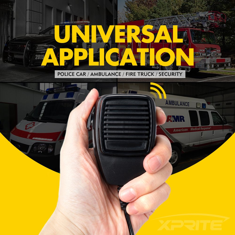 Xprite 100w 12v Police Siren 7 Tone Pa System Electronic Car Circuit Emergency Vehicle Warning Speaker Set W Handheld Microphone