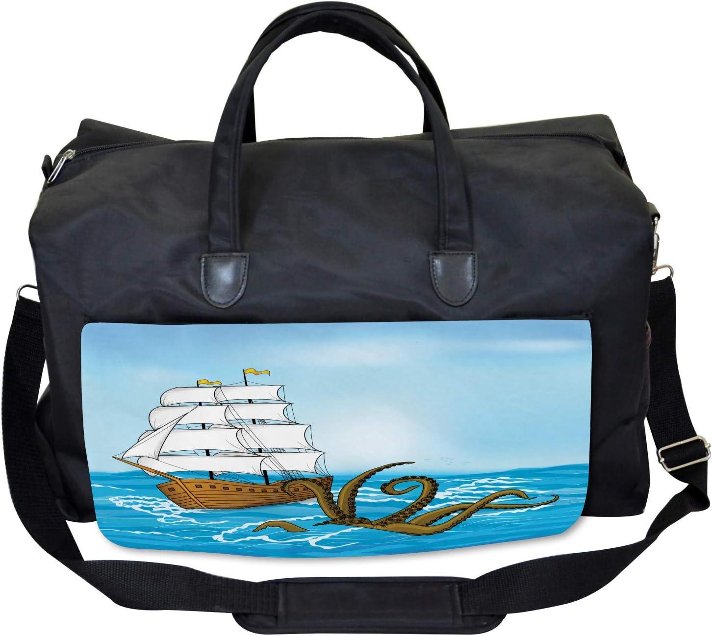 Ambesonne Ocean Gym Bag Ship in Waves and Kraken Large Weekender Carry-on