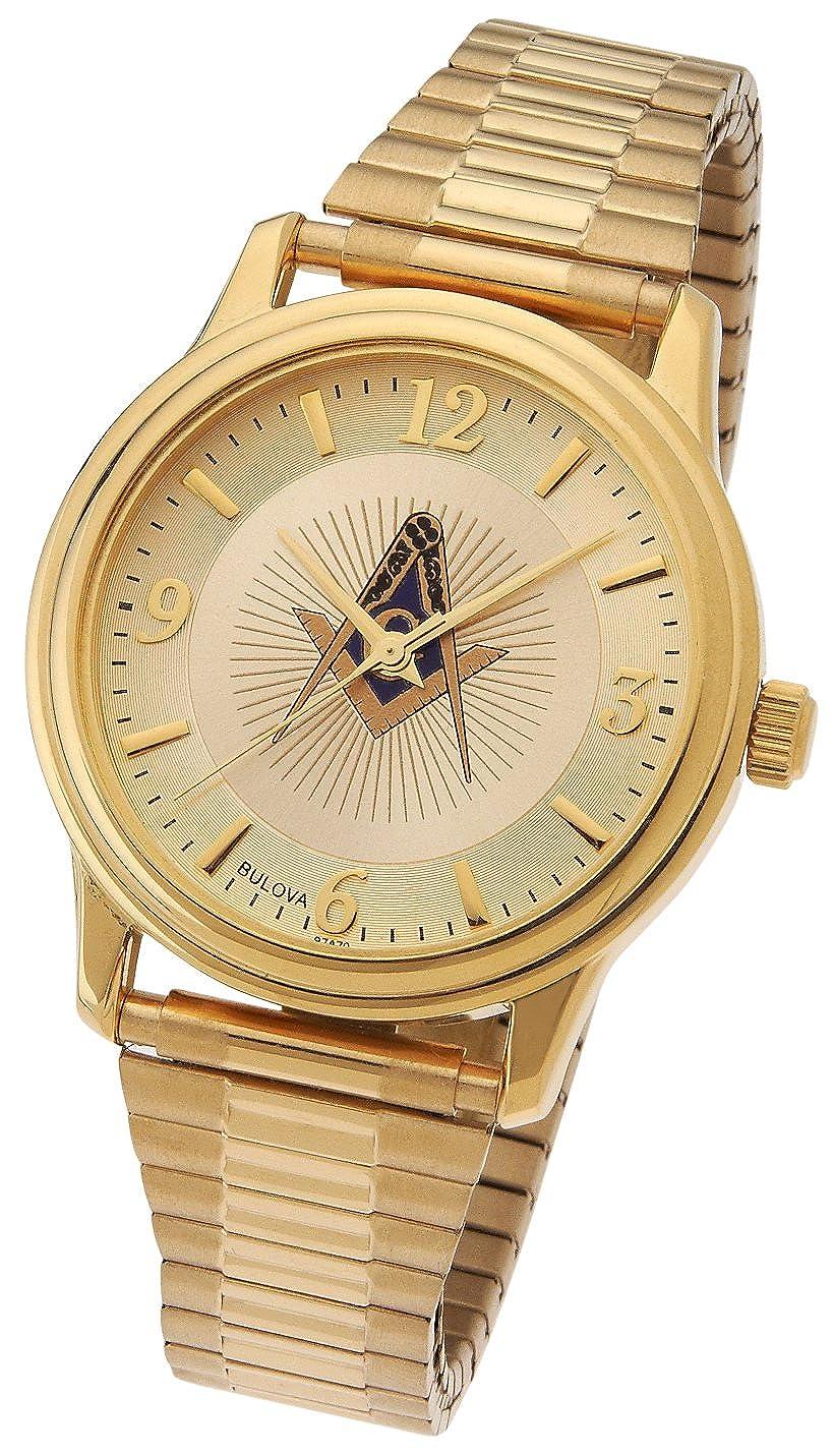 Men s Bulova Caravelle Gold Plated Masonic Blue Lodge Watch