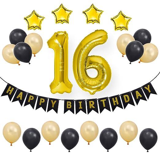bestoyard 23 Piezas 16ª Fiesta de Feliz cumpleaños ...