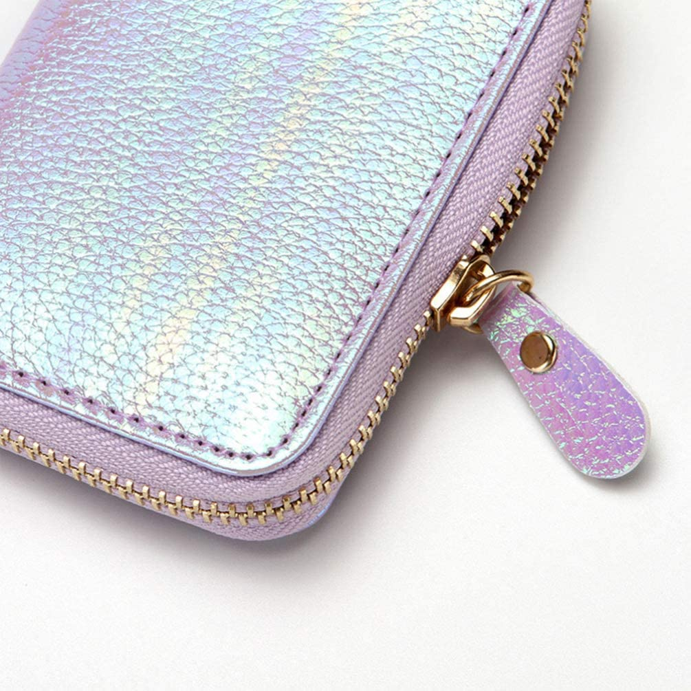TENDYCOCO Wallet with ID Window Card Sleeve Credit Card Holder Zipper Card Case for Women