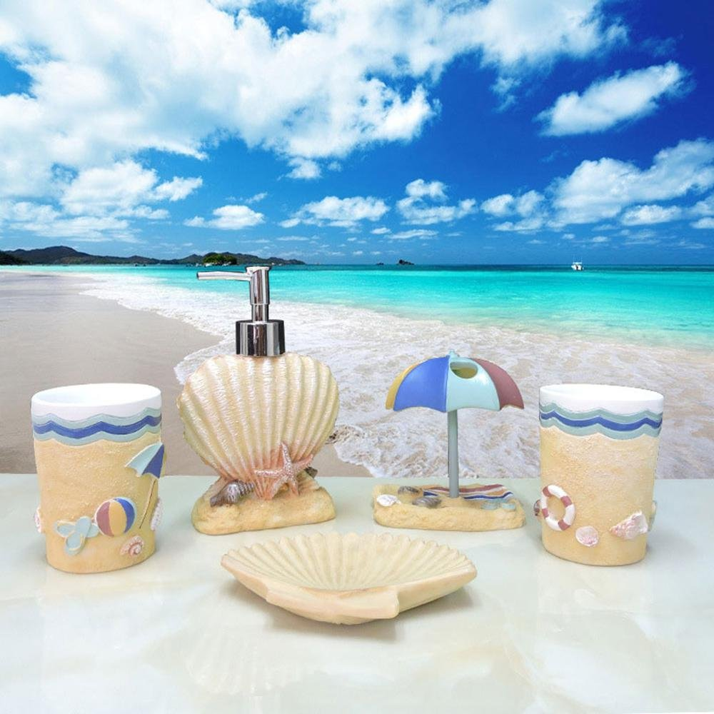 Aolvo 5Pcs Bath Accessories Set - Hawaiian Style - Coastal Bathroom Accessories, Include Soap Dispenser, Toothbrush Holder, Tumbler, Soap Dish for Home, Durable Resin Set