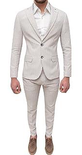 Abito completo uomo sartoriale in lino bianco beige slim fit elegante estivo 682207a19a8