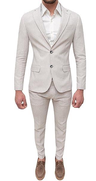 Abito completo uomo sartoriale in lino bianco beige slim fit elegante estivo   Amazon.it  Abbigliamento 198cf5bc3a8