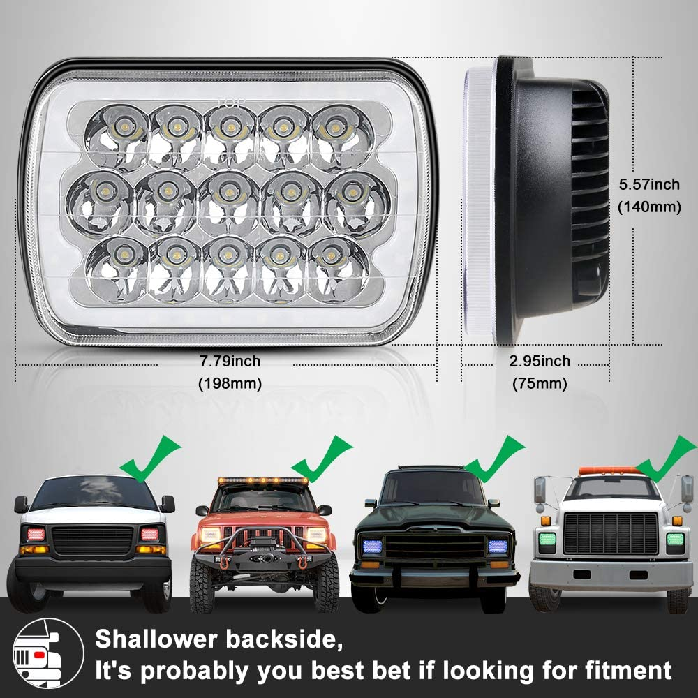 5x7 or 7x6 Sealed Beam Headlights with RGB Halo H6054 LED Headlights Replace any Rectangular Style Lamp Housing for Pontiac Fiero 84-88 or C4 Chevy Corvette 84-96, Jeep XJ or YJ,Pack of 2 71ncdYNlYSLSL1000_