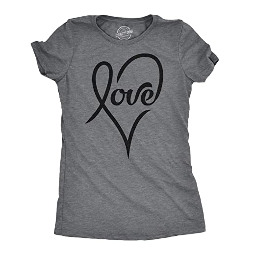 fad9b5608 Womens Love Cursive Heart Design Cute Stylish T Shirt (Dark Heather Grey) -  S