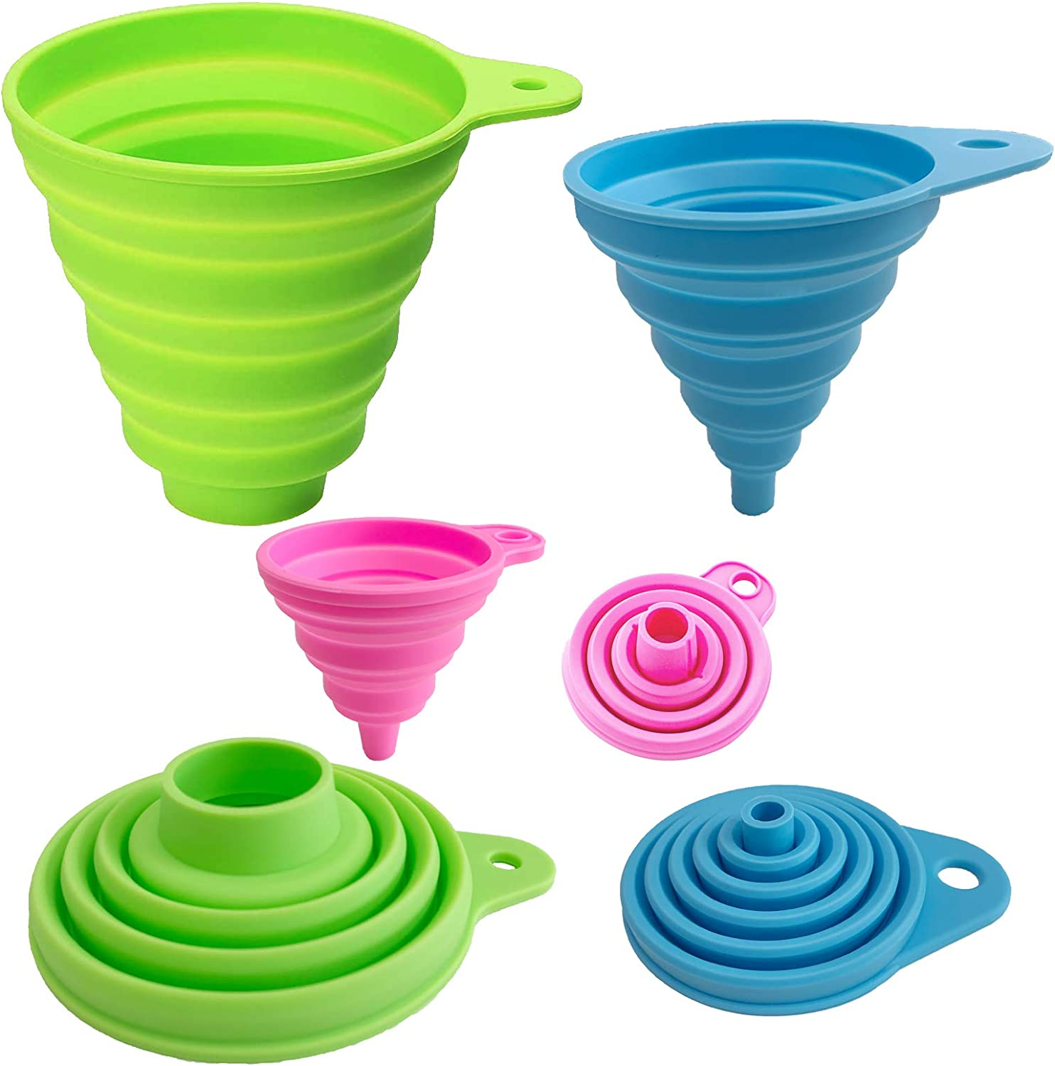 Kitchen Funnel, Silicone Collapsible Funnels for Filling Bottles, Food Grade Foldable Kitchen Funnels for Water Oil Liquid Powder, Set of 3, Large Funnel for Wide Mouth Jar, Medium/Small Funnel Set