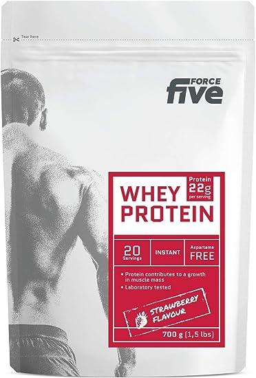 ForceFive Whey Protein. Concentrado de proteína de suero de leche, 700g (Fresa)