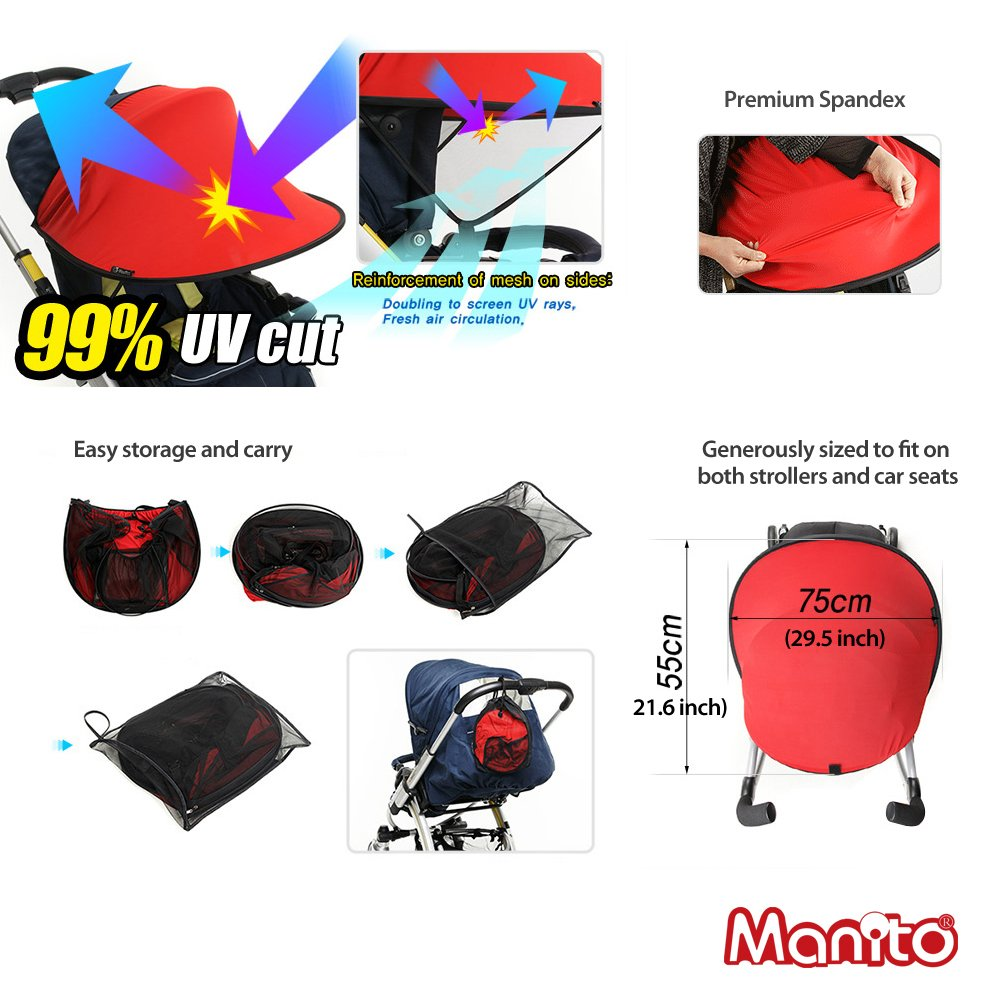 Manito Sun Shade for Strollers and Car Seats - Black (7 Available Colors) by Manito (Image #4)