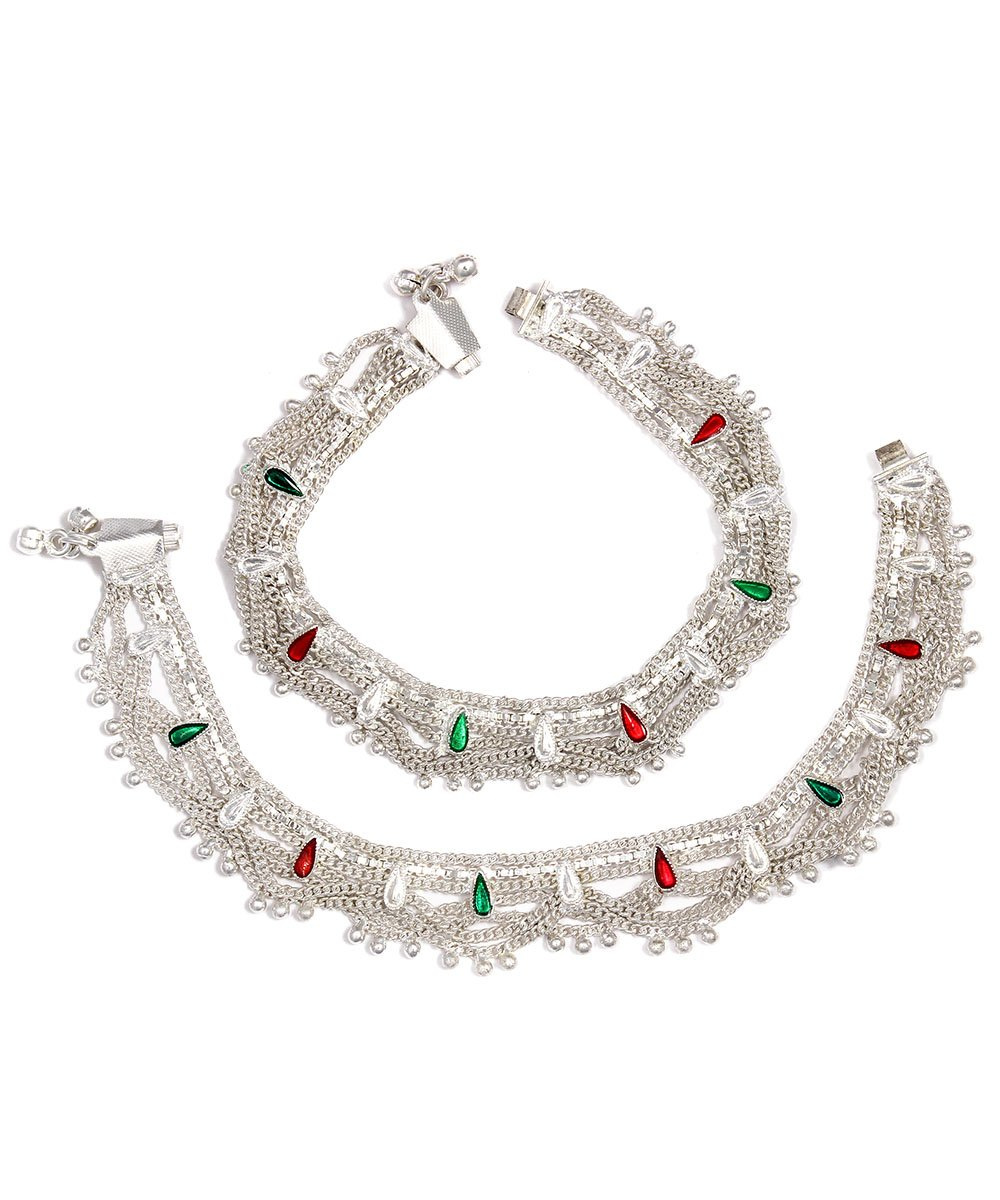 Womens Trendz Handmade Silver Plated Excellent complex zalar anklet/Ghungroo Painjan for Women and Girls