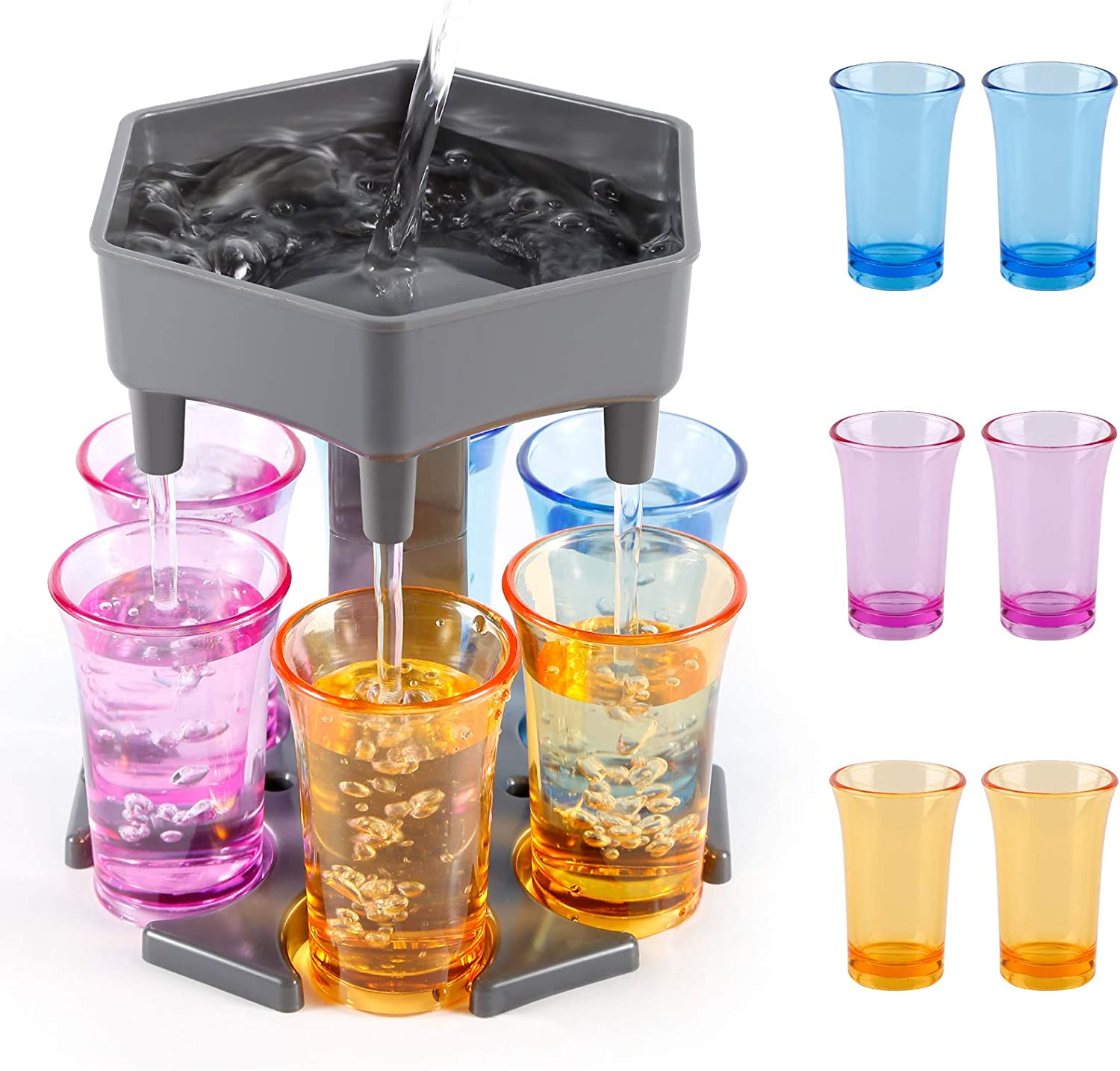 6 Shot Glass Dispenser, Drink Dispenser and Holder with Stoppers, Beverage Dispenser with Glasses for Filling Liquids Cocktail Liquor Carrier Gifts Bar Shot Dispenser for Parties (Gray with 6 glass)