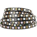 BTF-LIGHTING WS2812B RGB 5050SMD Individual Addressable 16.4FT 60Pixels/m 300Pixels Flexible Black PCB Full Color LED…