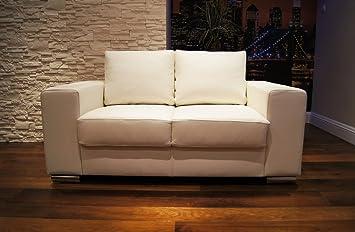 Weiß Echtleder 2 Sitzer Sofa California Breite 160cm Ledersofa