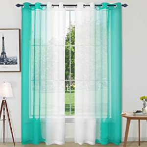 Naturoom Turquoise Ombre Sheer Curtains Faux Linen Grommet Light Filtering and Privacy Sheer Gradient Window Curtain Pair for Bedroom Living Room, Set of 2 Panels (Each 52 x 84 Inch, Teal)