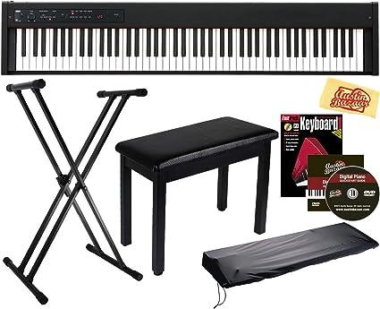 Korg D1 - Piano digital con banco de muebles, soporte ajustable, cubierta antipolvo, libro de instrucciones, lecciones en línea, DVD instructivo ...