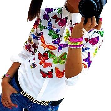 Mujer blusa fiesta,Sonnena ❤ Mujeres Mariposa Chifón Tops Camisa de manga larga Blusa