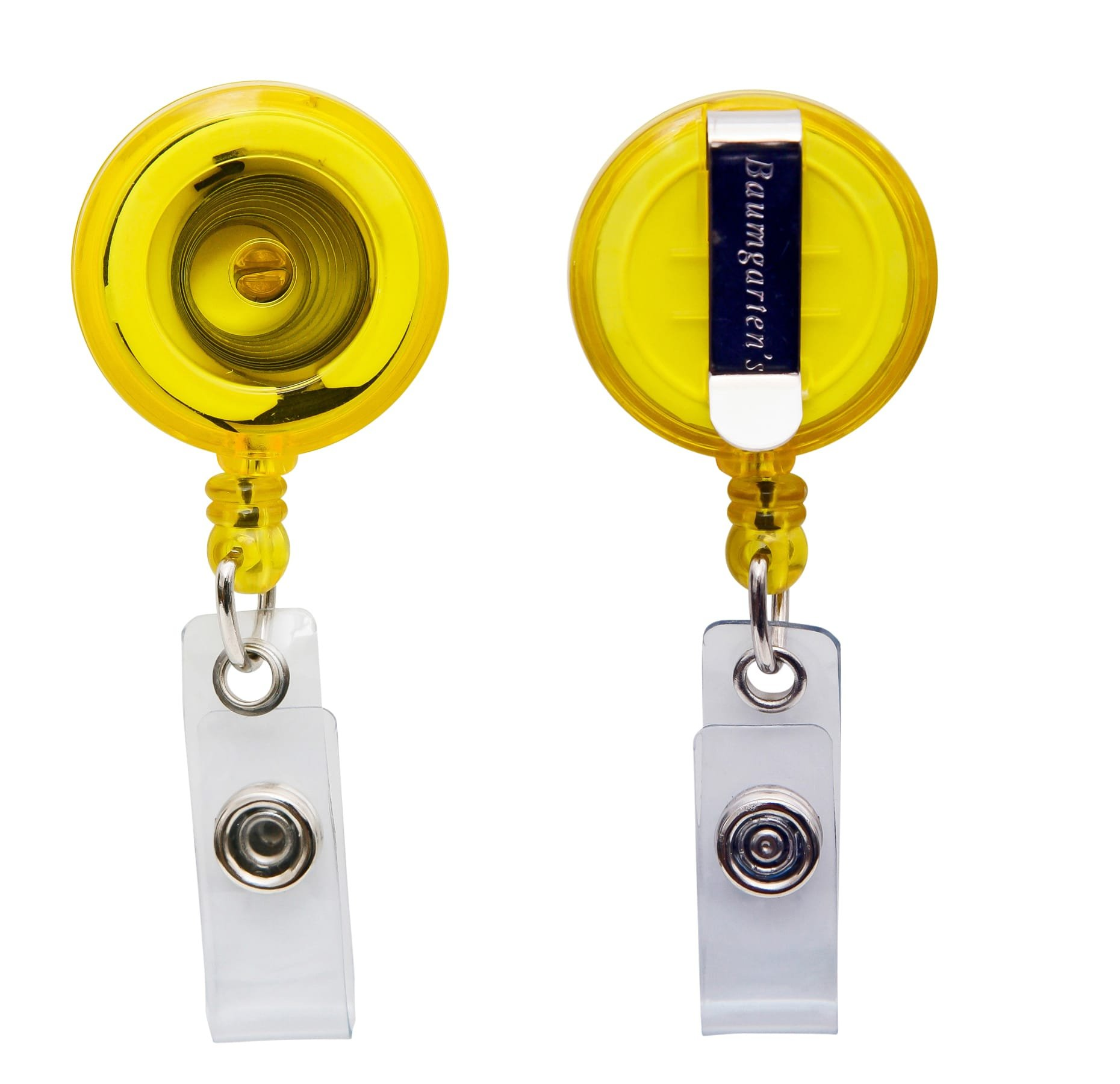 SICURIX Standard ID Badge Reel Round Belt Clip Strap 1 Each Yellow (Pack of 600) (68857)
